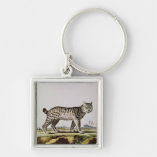 Canadian Lynx Silver-Colored Square Keychain
