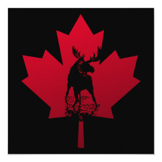 Canadian Maple Leaf and Moose Card
