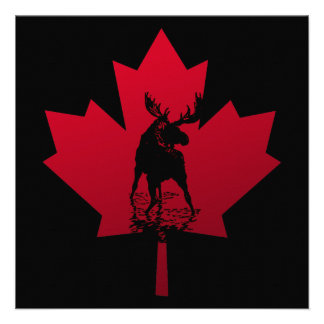 Canadian Maple Leaf and Moose Personalized Announcement