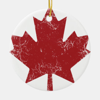 Canadian Maple Leaf (Distressed) Ceramic Ornament