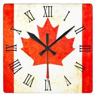 Canadian maple leaf flag roman numeral wall clock