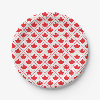 Canadian Maple Leaf Red and White Diamond Pattern Paper Plate