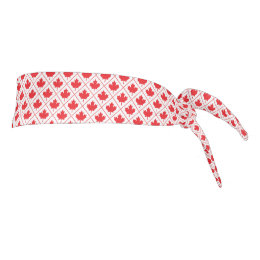 Canadian Maple Leaf Red and White Diamond Pattern Tie Headband