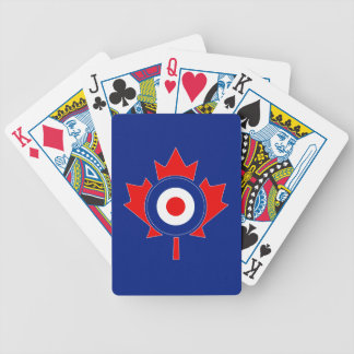 Canadian Maple Leaf Roundel Mod on blue Bicycle Playing Cards