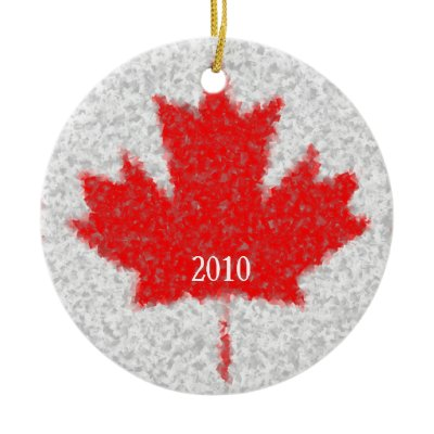 Canadian Maple Leaf Snowy Holiday Custom Date Christmas Tree Ornaments