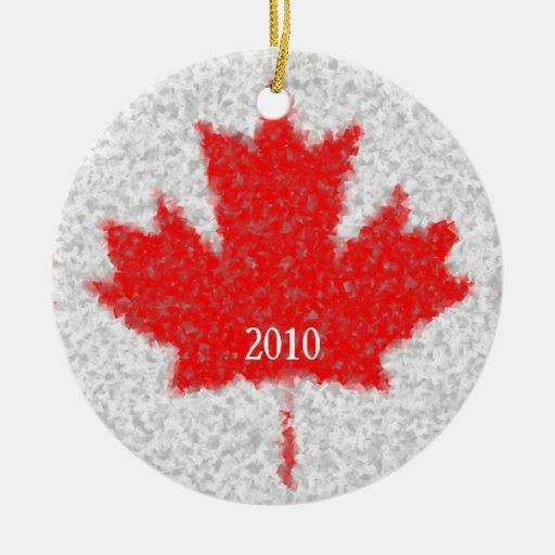 Canadian Maple Leaf Snowy Holiday Custom Date Christmas Tree Ornaments
