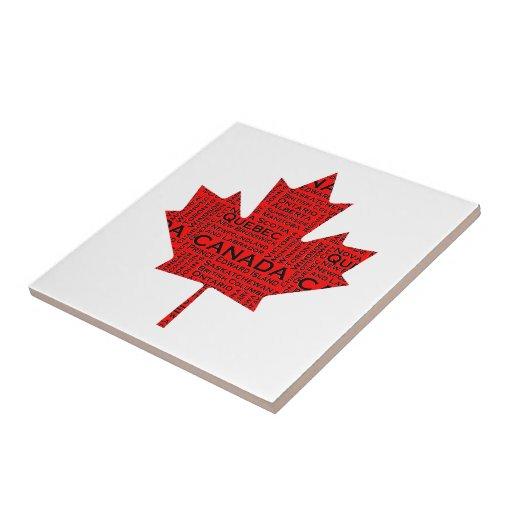 Canadian Maple Leaf w/Text Ceramic Tiles