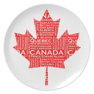 Canadian Maple Leaf w/Text Party Plate
