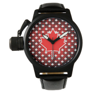 Canadian Maple Leaf with Dot Pattern Background Wrist Watch
