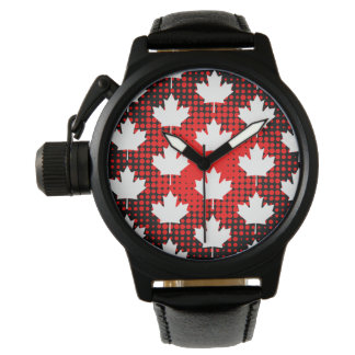 Canadian Maple Leaf with Dot Pattern Background Wristwatch