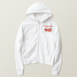 Canadian Maple Leaves Embroidered Hoodie