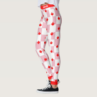 Canadian Maple on Checkered Pink Pastel Leggings