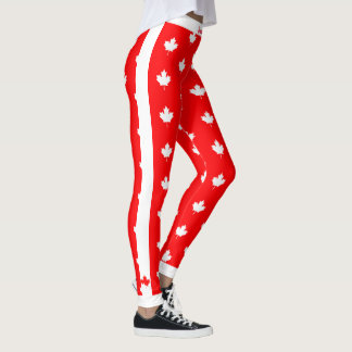 Canadian Maple on Red and White Leggings