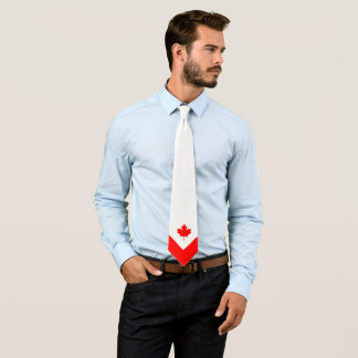 Canadian Maple on Red and White Neck Tie