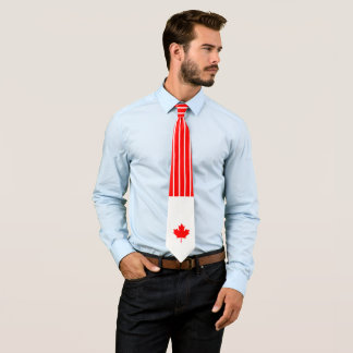Canadian Maple on Red and White Pinstripe Tie