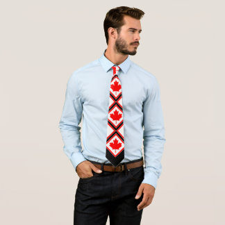 Canadian Maple on Red Black White Neck Tie