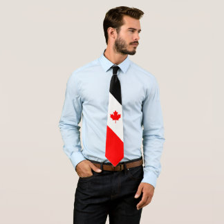 Canadian Maple on Red White Black Neck Tie