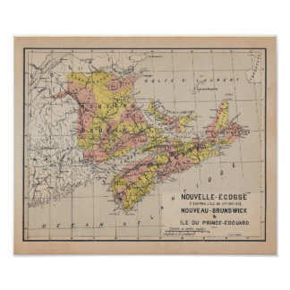 Canadian Maritimes 1920 French Antique Map Póster