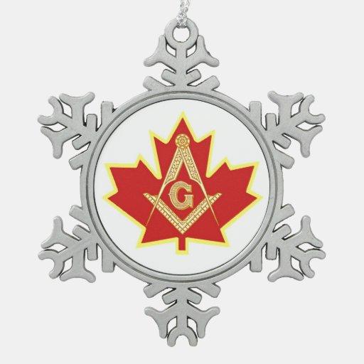 CANADIAN MASONS SNOWFLAKE PEWTER CHRISTMAS ORNAMENT