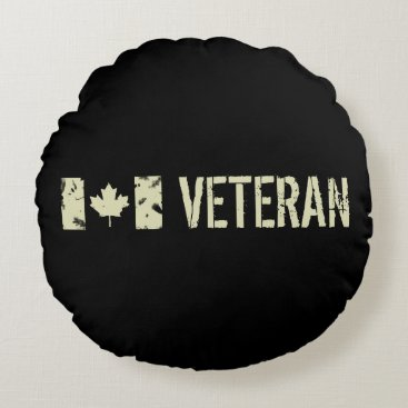 Canadian Military Veteran Round Pillow