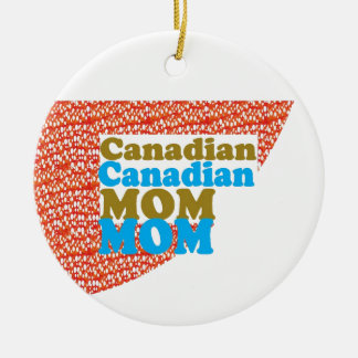 CANADIAN MOM   peace diversity equality welcoming Double-Sided Ceramic Round Christmas Ornament