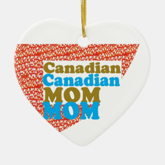 CANADIAN MOM   peace diversity equality welcoming Double-Sided Heart Ceramic Christmas Ornament