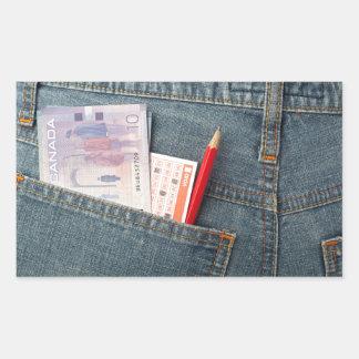 Canadian money and lottery betting slip rectangular sticker