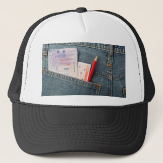 Canadian money and lottery betting slip trucker hat