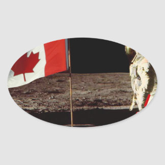 Canadian  Moon Landing Oval Sticker
