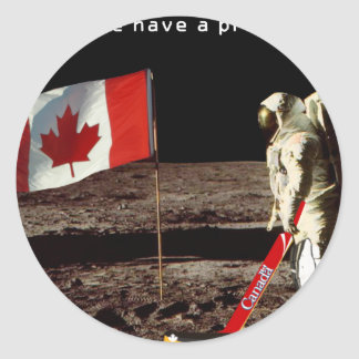 Canadian  Moon Landing Round Sticker