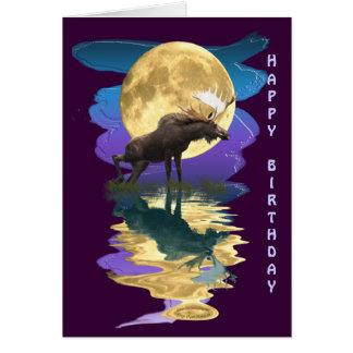 Canadian Moose & Moon Birthday Card