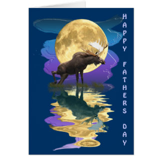 Canadian Moose & Moon Father's Day Card