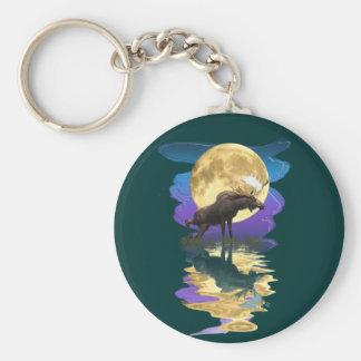 Canadian Moose & Moon Wildlife Animal Basic Round Button Keychain