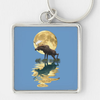 Canadian Moose & Moon Wildlife Animal Silver-Colored Square Keychain