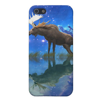 Canadian Moose & Starry Skies Wildlife Animal Art Cover For iPhone SE/5/5s