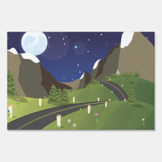 Canadian Mountain Road Lawn Sign