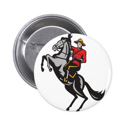 Canadian Mounted Police Mountie Riding Horse Buttons