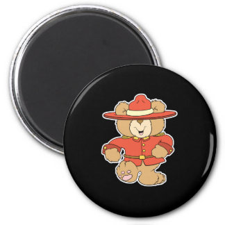 Canadian Mountie Bear 2 Inch Round Magnet