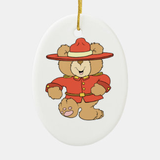 Canadian Mountie Bear Double-Sided Oval Ceramic Christmas Ornament