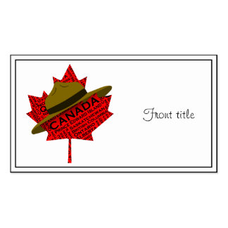 Canadian Mountie Hat on Red Maple Leaf Business Card Templates