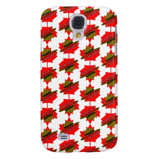 Canadian Mountie Hat on Red Maple Leaf Samsung Galaxy S4 Case