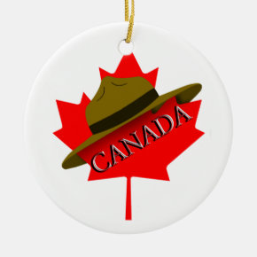 Canadian Mountie Hat on Red Maple Leaf Ceramic Ornament