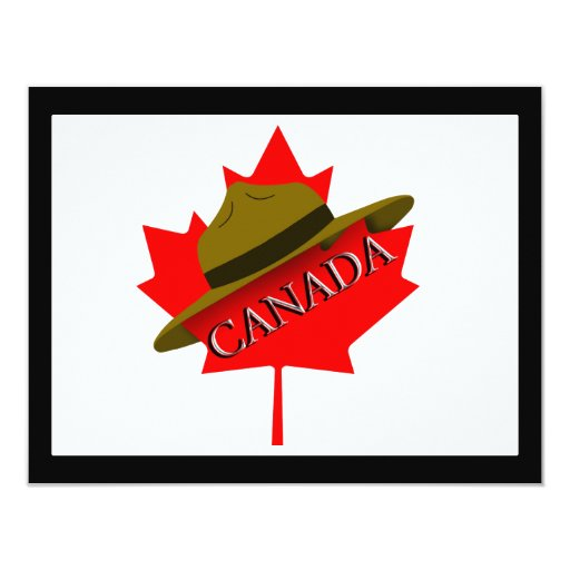 """Canadian Mountie Hat on Red Maple Leaf 4.25"""" X 5.5"""" Invitation Card"""