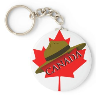 Canadian Mountie Hat on Red Maple Leaf Key Chains