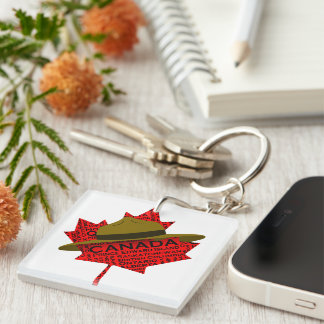 Canadian Mountie Hat on Red Maple Leaf Double-Sided Square Acrylic Keychain
