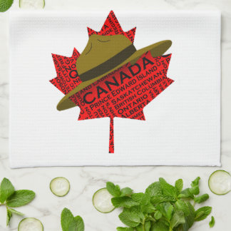 Canadian Mountie Hat on Red Maple Leaf Towels