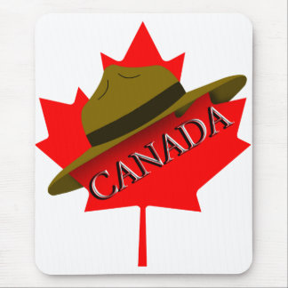 Canadian Mountie Hat on Red Maple Leaf Mouse Pad