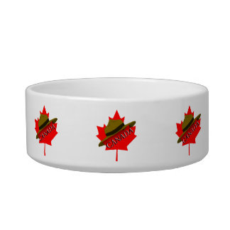Canadian Mountie Hat on Red Maple Leaf Cat Bowl