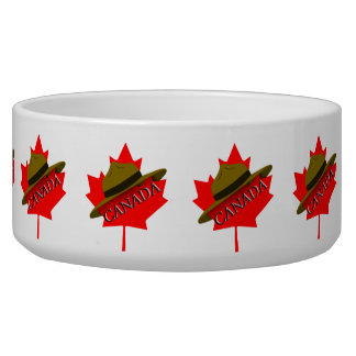 Canadian Mountie Hat on Red Maple Leaf Dog Food Bowl