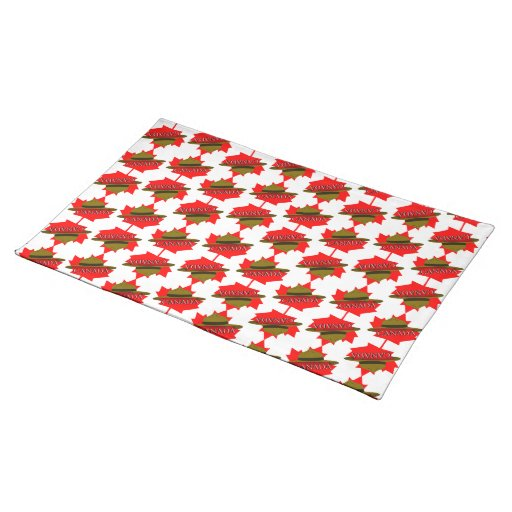 Canadian Mountie Hat on Red Maple Leaf Place Mats